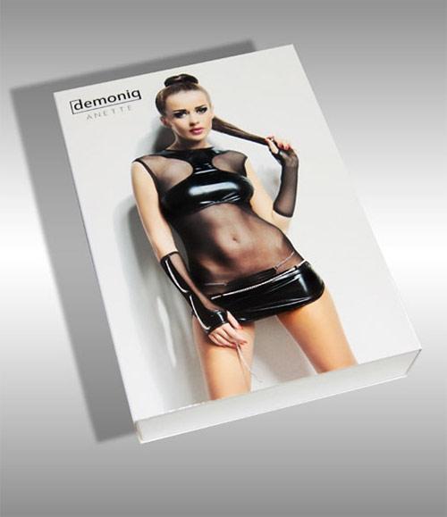 Luxusní erotický komplet šatů, kalhotek a rukavic