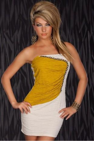 Trendy jemně mačkané sexy mini šaty nad prsa