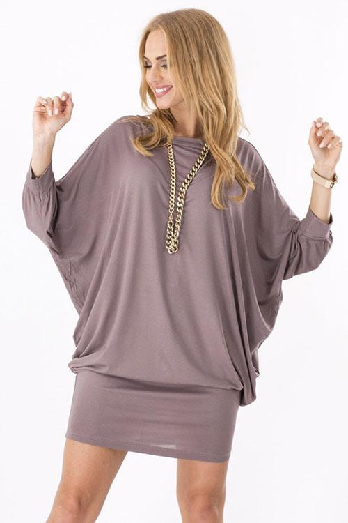 Elegantní volná tunika/šaty s netopýřími rukávy