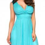 Pěkné společenské šaty v tyrysové barvě
