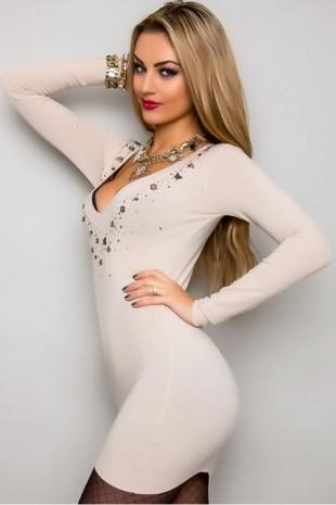 Béžové úpletové mini šaty s dlouhým rukávem