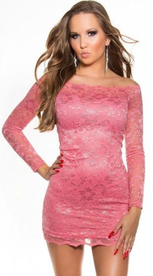 Krásné růžové krajkové večerní mini šaty s dlouhými rukávy