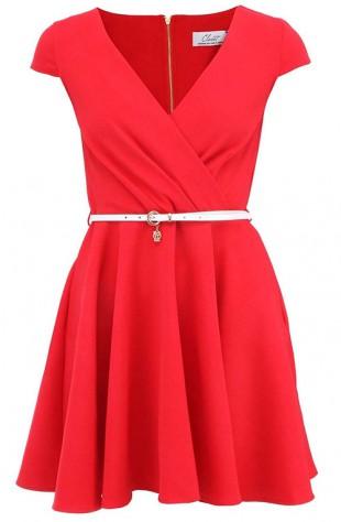 Červené šaty s bílým páskem a širokou sukní Closet