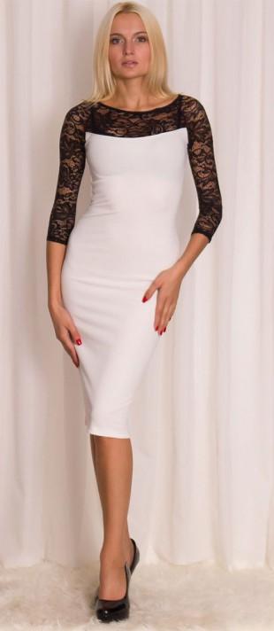 Delší bílé šaty s černou krajkou