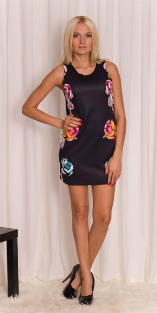 Dámská tunika/šaty s průstřihem na zádech a květy