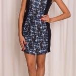 Dámské černé šaty s modrým vzorem