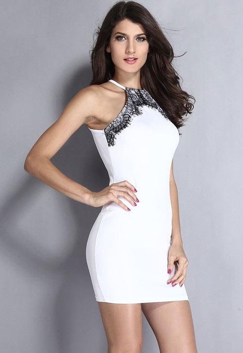 Bílé dámské bodycon šaty se zavazováním za krk