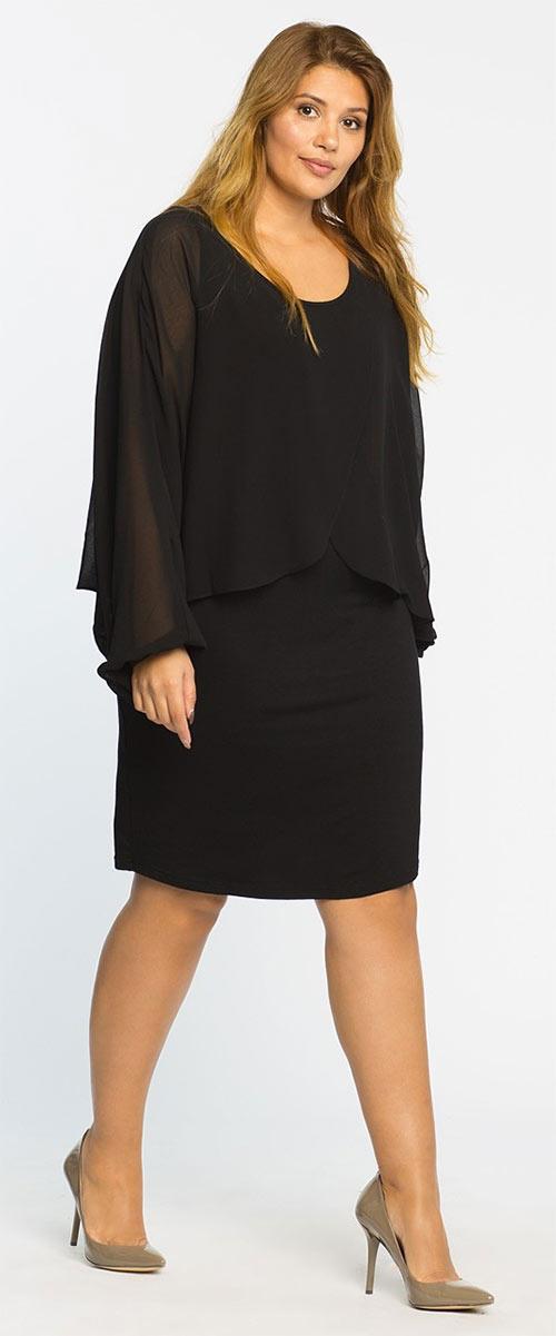 Černé volné šaty pro plnoštíhlé Junarose - Kate