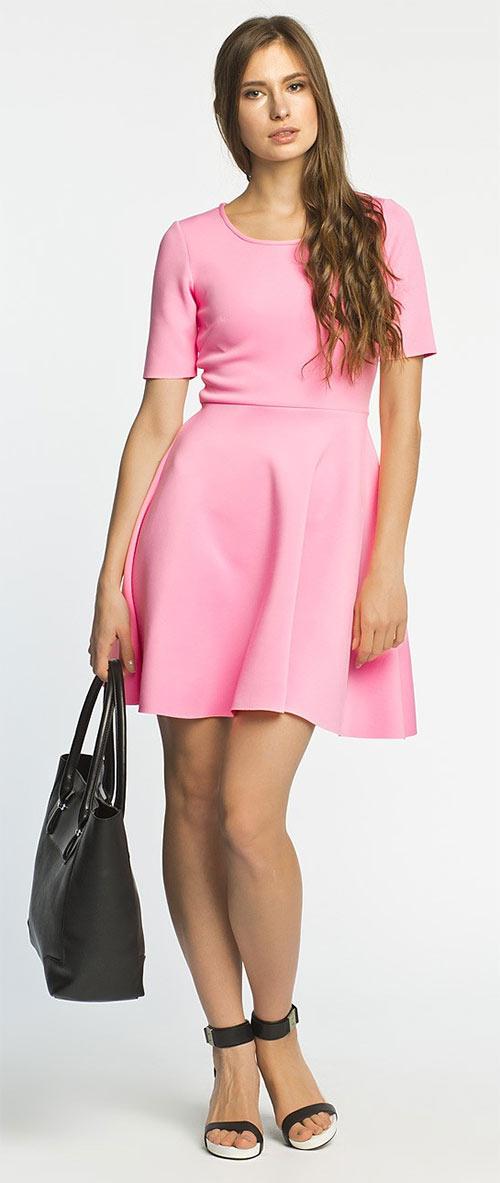 Růžové společenské šaty nad kolena Cruising