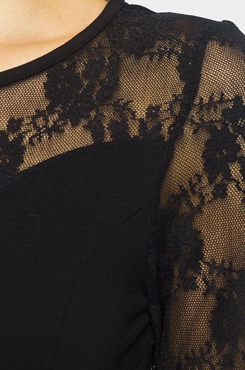 Černé společenské šaty Only s krajkovými vsadkami