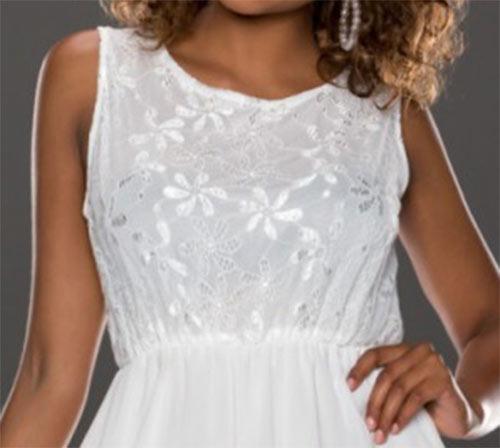 Letní krátké bílé šaty bez rukávu a kulatým výstřihem