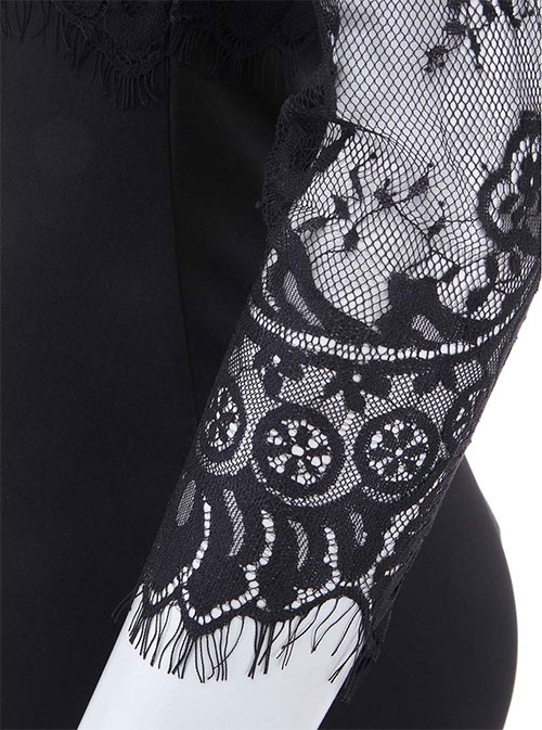Černé šaty s krajkovými rukávy AX Paris