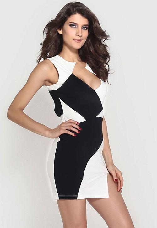 Elegantní černobílé koktejlové dámské šaty bez rukávů