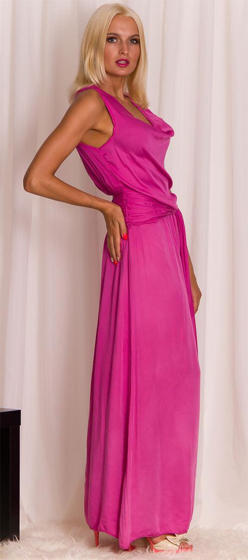 Dámské dlouhé fuchsiové plesové šaty s vázáním