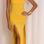 Dámské elegantní šaty v jasně žluté barvě