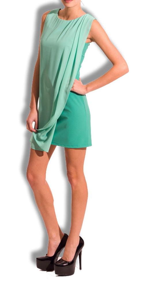 Dvouvrstvé zelené šaty GbyG