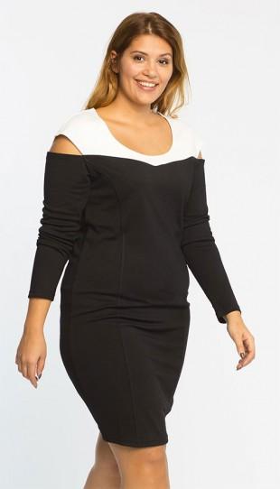 Černo-bílé šaty pro plnoštíhlé z kolekce Junarose