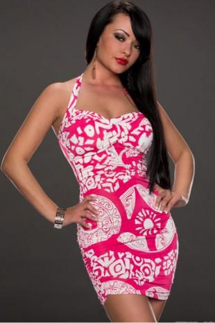 Růžovo bílé vzorované letní mini šaty na ramínka