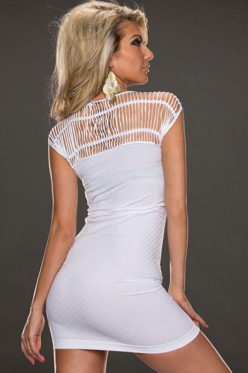 Bílé lehce průsvitné sexy minišaty jemně žebrované