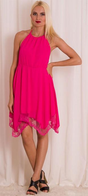 Růžové dámské letní šaty s vázáním za krk a holými zády