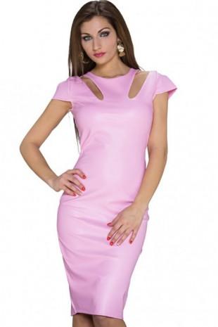 Růžové pouzdrové šaty s délkou ke kolenům