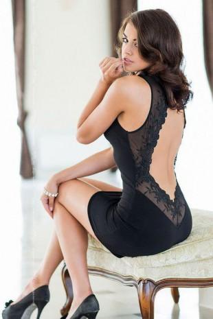 Černé elegantní a sexy šaty Pearl SoftLine collection s odhalenými zády