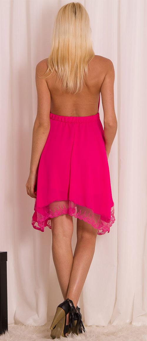 Růžové letí šaty s krajkou