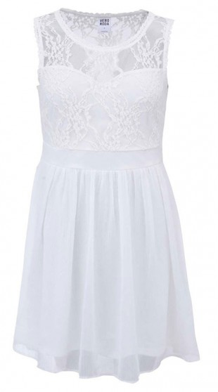 Bílé rozevlaté šaty s krajkou Vero Moda Neja