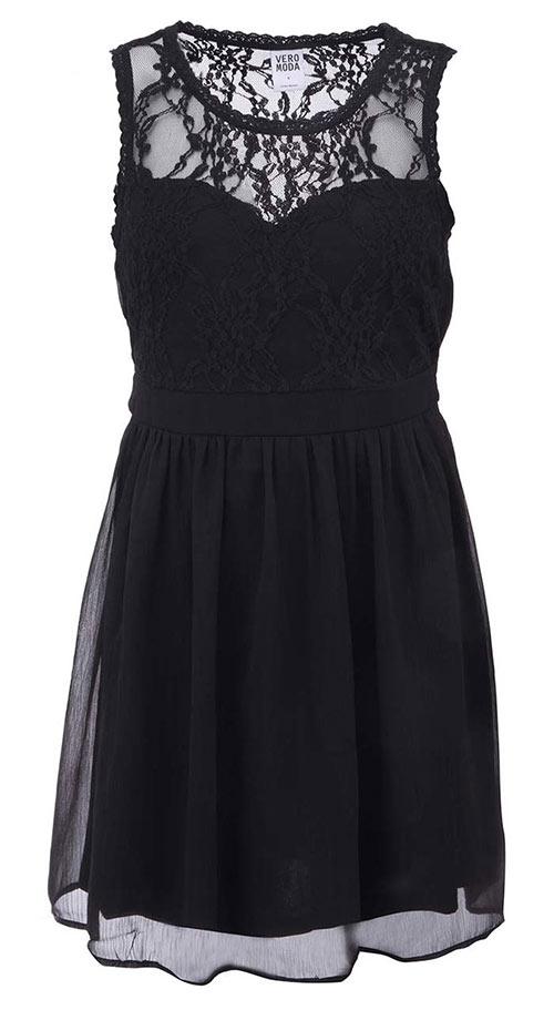 7c4223524d25 Černé krajkové dámské šaty Vero Moda Neja