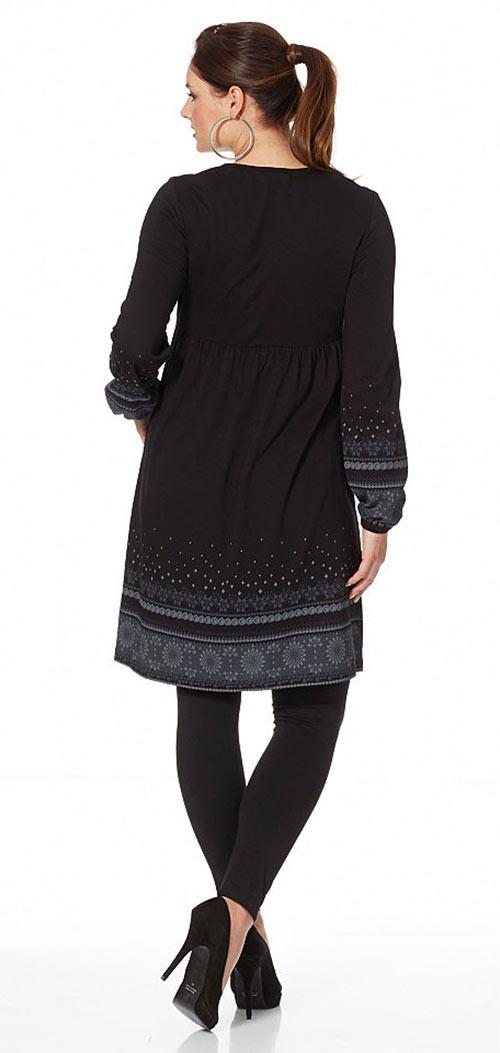 Černé volné dámské šaty sheego pro plnoštíhlé. Černé šaty větších velikostí  ... cb9185351d