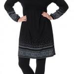 Černé volné dámské šaty sheego pro plnoštíhlé