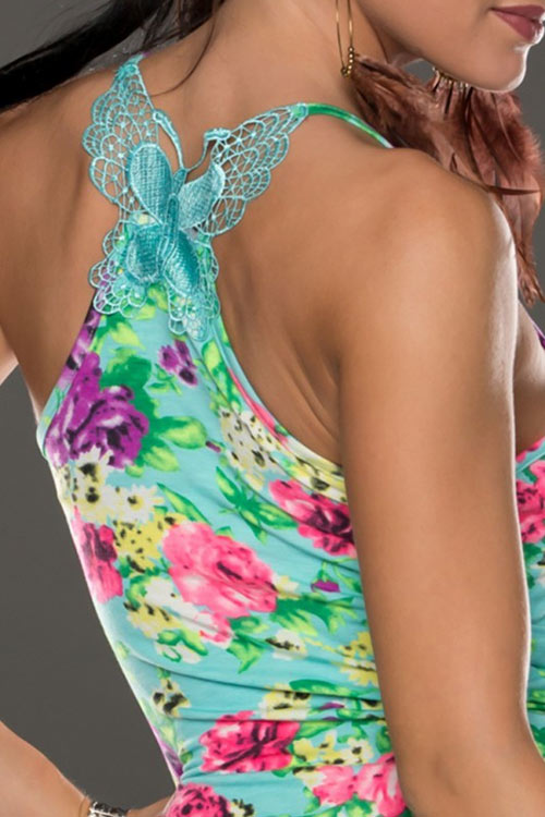 Dámské šaty s krajkovou aplikací motýla na zádech