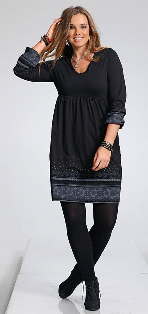 Černé volné dámské šaty sheego pro plnoštíhlé. Černé šaty větších velikostí Černé  šaty větších velikostí Vplné šaty pro silnější postavu ... cc2861b1b4