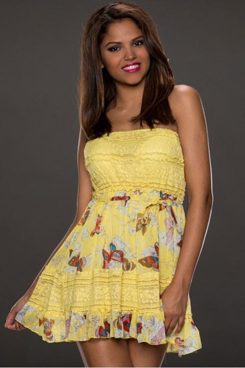 Žluté letní mini šaty nad prsa s barevným potiskem