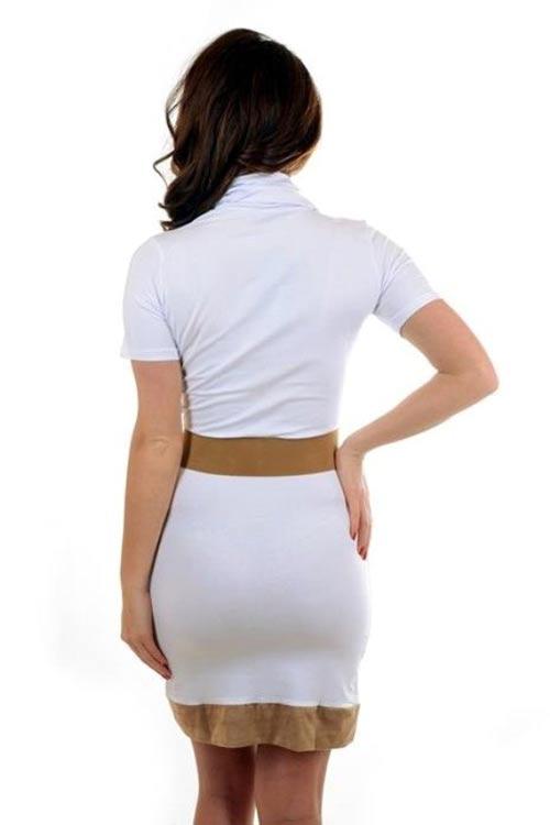 Bílé šaty s hnědým lemem