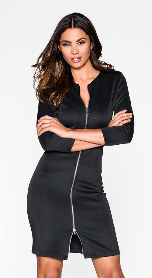 Černé šaty se zapínáním na dvoucestný zip