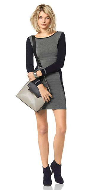Černošedé pletené dámské šaty Laura Scott
