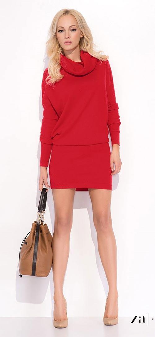 Krátké šaty na zimu z vlny a bavlny