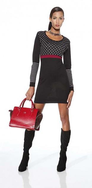 Černé dámské šaty. Pletené šaty s dlouhými rukávy 7c8ec0c3df