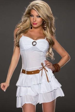 Bílé jemně průsvitné letní krátké šaty s opaskem