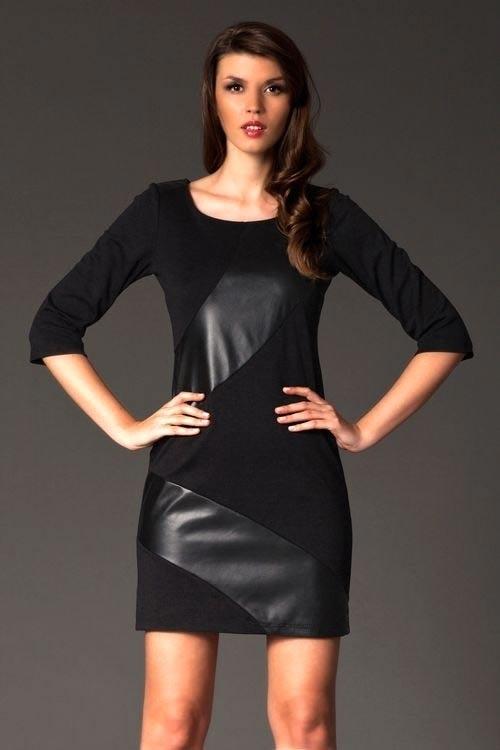 Černé dámské šaty FIGL M149 s imitací kůže