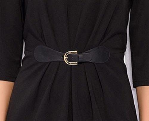 Černé společenské šaty s páskem