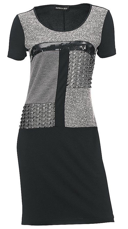 Černo-šedé šaty s geometrickými vzory