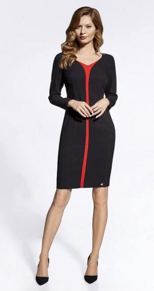 Elegantní pouzdrové šaty v černo-červeném provedení