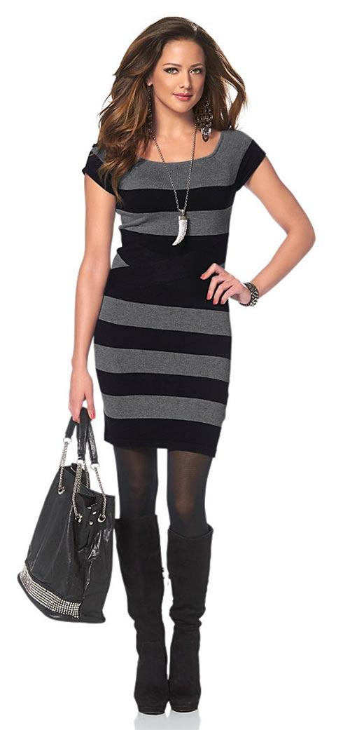 Pletené pruhované šaty Melrose s krátkými rukávy