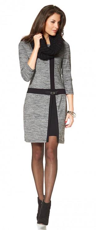 Pletené zimní šaty s tříčtvrtečními rukávy