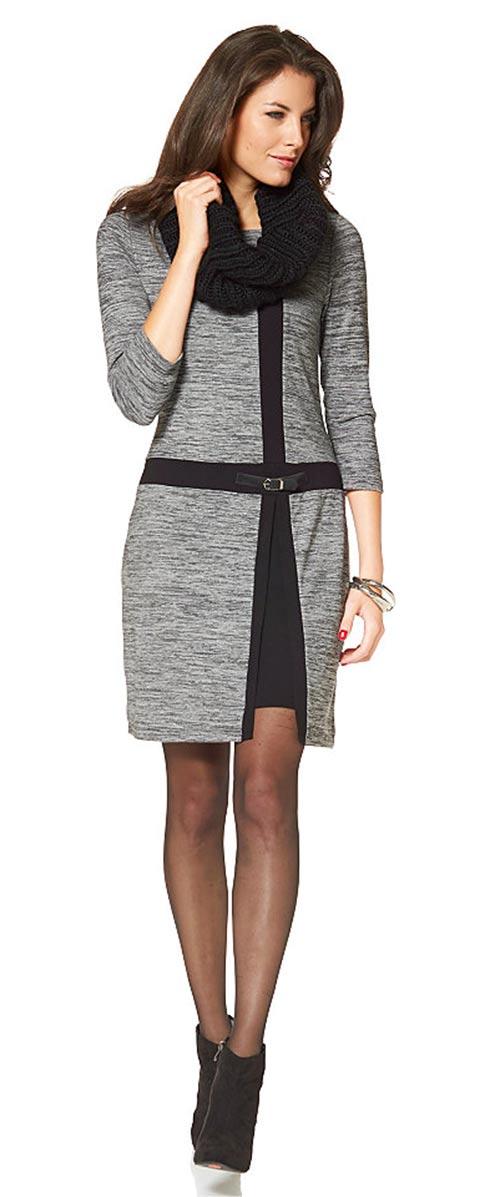 2a96c5c00924 Pletené zimní šaty s tříčtvrtečními rukávy