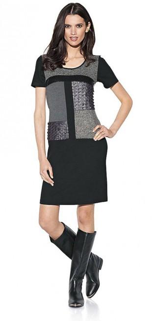 Šaty nad kolena s módními aplikacemi flitrů