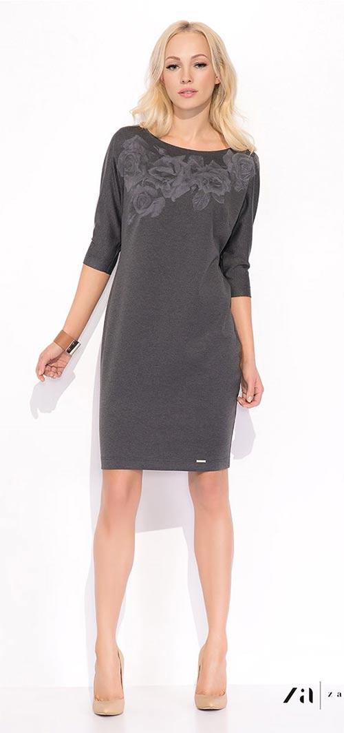 Šedé úpletové šaty Laura