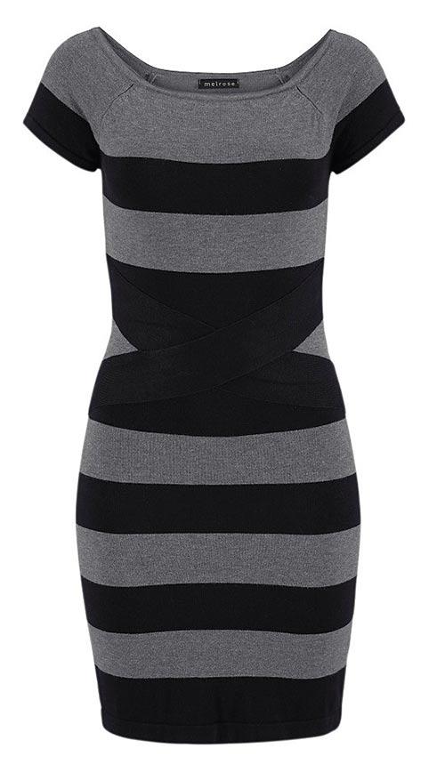 Šedo-černé úpletové šaty